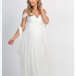 White Chiffon Cold Shoulder Maternity Gown